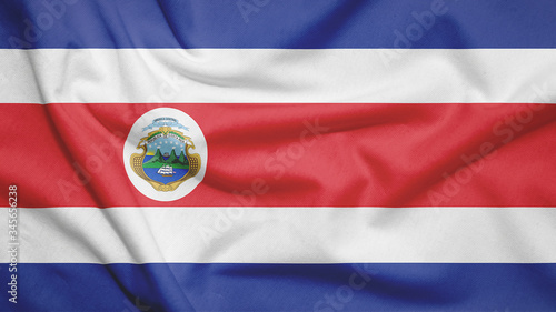 Costa Rica flag with fabric texture Canvas Print