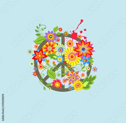 Peace Hippie Symbol with abstract colorful flowers for textile art Canvas Print