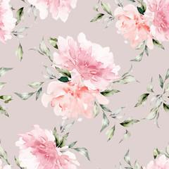 Fototapeta Do salonu kosmetycznego Seamless summer pattern with watercolor flowers handmade.
