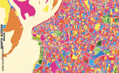 Photo Porto Alegre, Brazil, colorful vector map