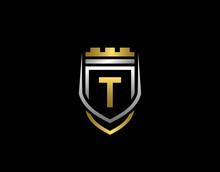 Gold Heraldic T Letter Monogra...