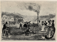 """First Railway Train Between Stockton And Darlington, September 27, 1825. Publication Of The Book """"A Century In The Text And Pictures"""", Berlin, Germany, 1899"""
