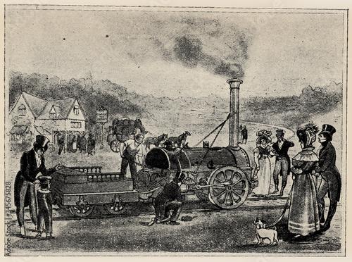 Fototapeta First railway train between Stockton and Darlington, September 27, 1825