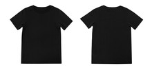 Blank T Shirt Template. Black T-shirt Front And Back On White Background.