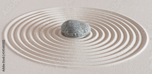 Cuadros en Lienzo japanese garden with stone in textured sand