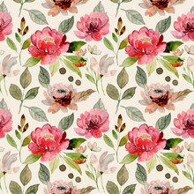 Watercolor Seamless Pattern With Red Flower