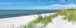Leinwanddruck Bild Ostseestrand mit Dünen und Meer im Sommer - Ostsee Panorama