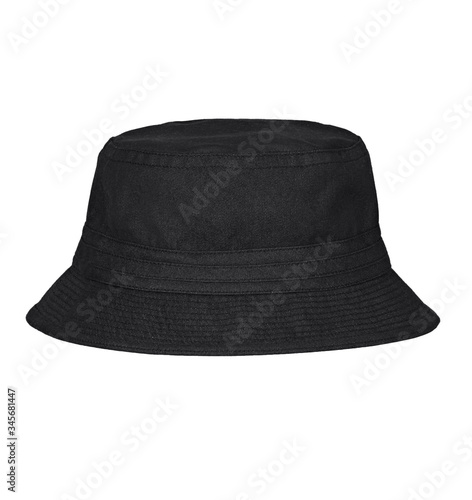 Fototapeta Black bucket hat on white background. obraz