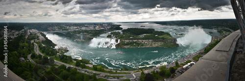 Panoramic View Of Niagara Falls Against Cloudy Sky Fototapeta