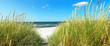 Leinwanddruck Bild Ostseestrand mit Seegras und Meer im Sommer - Ostsee Panorama