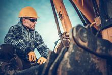 Close Up Of Excavator Operator...