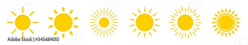 Sun icon set. Yellow sun star icons collection. Summer, sunlight, nature, sky. Vector illustration isolated on white background.