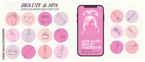 Obraz na plátně professionally designed modern Neutral nude outline Beauty and spa Instagram hig