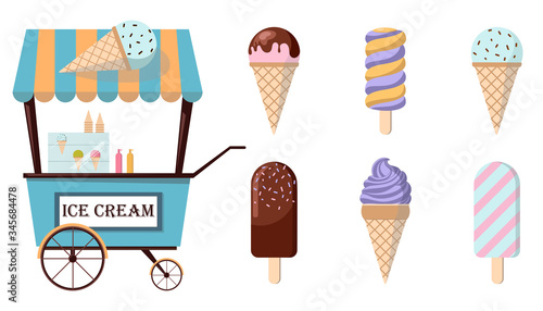 Obraz Set of ice-cream icons and ice-cream shopping cart. Collection of trendy flat illustrations. Amusement park concept. - fototapety do salonu
