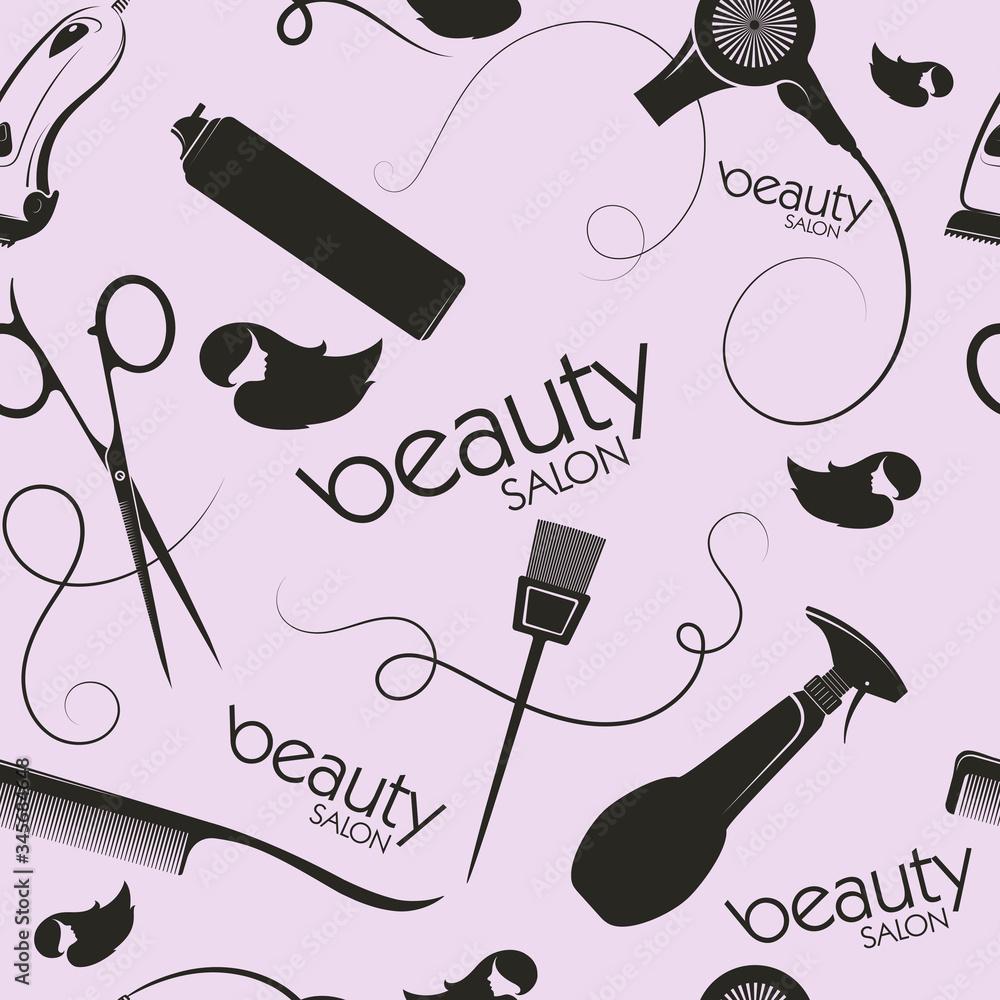 Fototapeta Beauty salon and barber stylist hair seamless pattern background vector