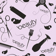 Beauty salon and barber stylist hair seamless pattern background vector