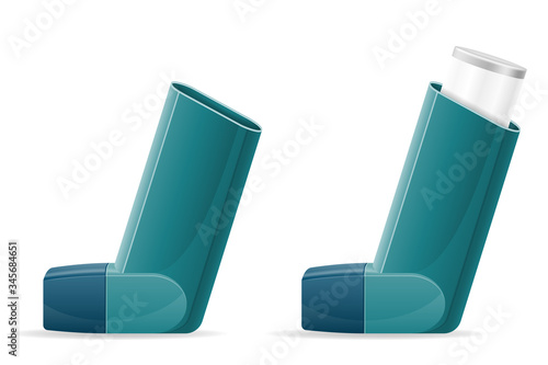 Photo medical inhaler for patients with asthma and shortness of breath in the treatmen