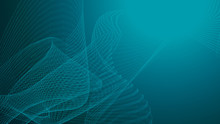 High Tech Blue Green Wave Dark Background. Abstract Technology Big Data Digital Background. 3d Rendering.