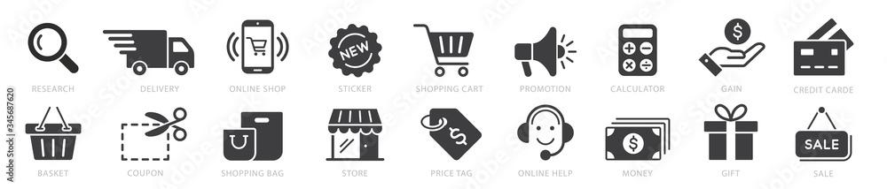 Fototapeta Online shopping icons set, payment elements vector illustration