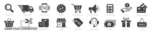 Fototapeta Online shopping icons set, payment elements vector illustration obraz
