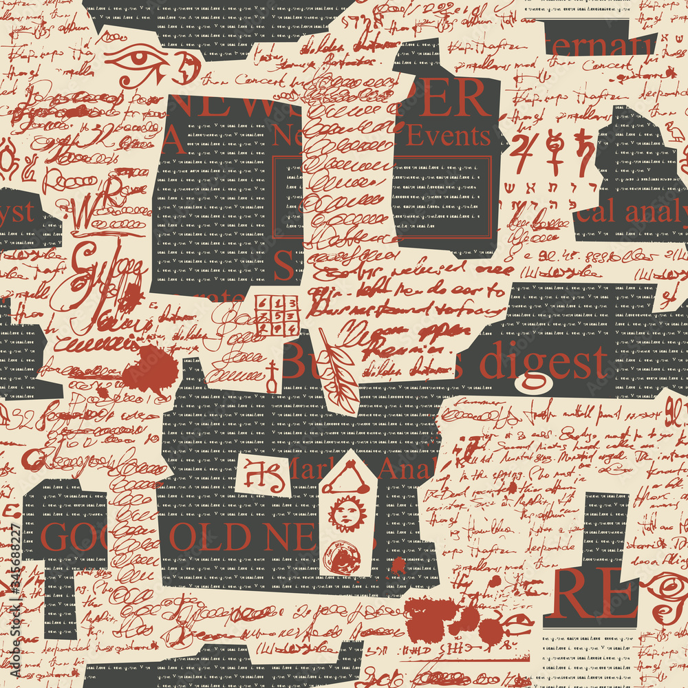 Fototapeta Vector seamless pattern, repeating background with red unreadable scribbles imitating handwritten text and abstract magazine clippings. Suitable for wallpaper, wrapping paper, fabric or textile
