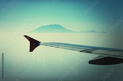 Airplane Wing And Mountain Canvas Print