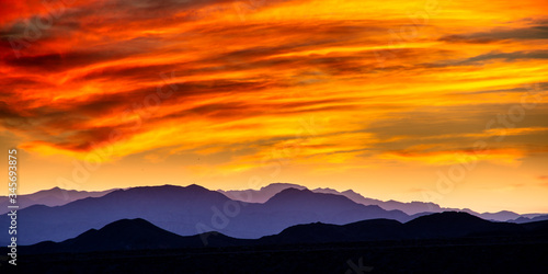 Scenic View Of Landscape At Sunset #345693875