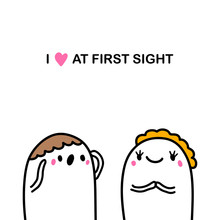 I Love At First Sight Hand Drawn Vector Illustration In Cartoon Comic Style Couple Together