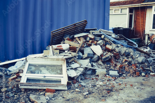 A pile of construction waste near private house Canvas-taulu
