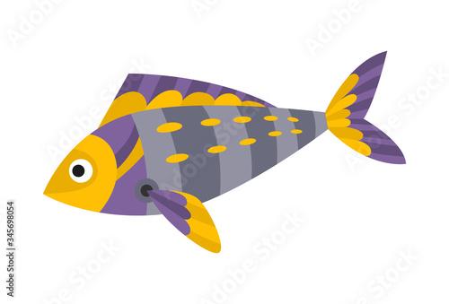 Vector cartoon mechanical robotic fish Canvas Print