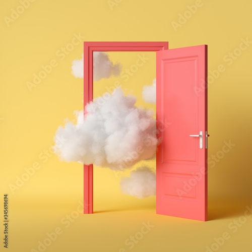 Tela 3d render, white fluffy clouds going through, flying out, open red door, objects isolated on bright yellow background
