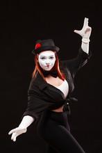 Portrait Of Female Mime Artist...