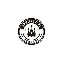 Bowling Vintage Minimalist Logo Designs Concept Vector