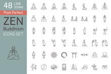 Zen Buddhism Icon Set Line
