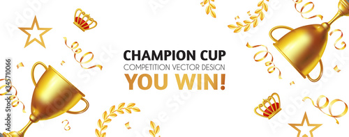 Vászonkép You win! Champion background with gold champion cup, crown, stars and serpentine