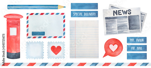 Photo Big illustration pack on Postage theme with various postal symbols, seamless striped frame, stamps, air mail stickers, post marks