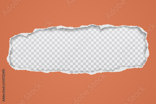 Obraz Torn, ripped orange paper hole with soft shadow, frame for text is on white squared background. Vector illustration - fototapety do salonu