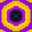 Leinwanddruck Bild - Spiritual background for meditation with sri yantra and yellow flowers in color mandala