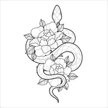 Hand Drawing Outline Snake Wit...