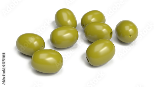 Photo green olives on a white background
