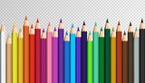 Colored pencils laying in row. Colorful rainbow set.