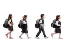 Schoolchildren In Uniforms Wal...