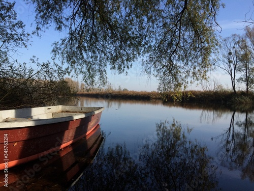 Cropped Boat In Calm Lake