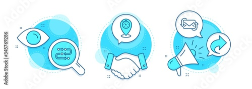 Obraz Timer, Share and Methodology line icons set. Handshake deal, research and promotion complex icons. Refresh mail sign. Location pointer, Link, Development process. New e-mail. Technology set. Vector - fototapety do salonu