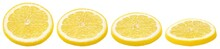 Set Of Sliced Lemon Citrus Fruit Lying Down Isolated On White Background. Lemon Slices In Row With Clipping Path. Full Depth Of Field.