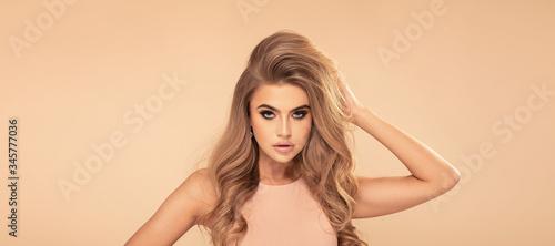 Fototapeta Beauty portrait of blonde caucasian woman .