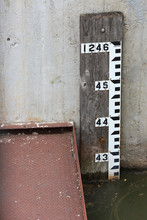 Water Depth Gauge On Side Of Dam