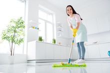 Full Length Body Size View Of Her She Nice Attractive Cheerful Cheery Hardworking Girl Making Fast Domestic Work Wiping Perfect Ceramic Floor In Modern Light White Interior Kitchen Indoors