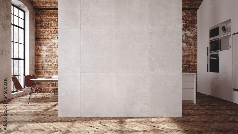 Fototapeta Loft apartment, kitchen interior, industrial style ,3d render