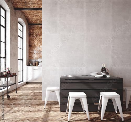 Fototapeta Loft apartment, kitchen interior, industrial style ,3d render obraz